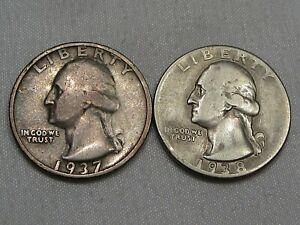 2 Early Date Washington Quarters: 1937-s & 1938.  #50