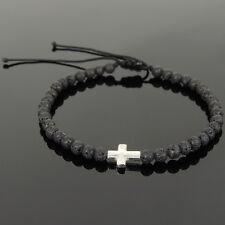 925 Sterling Silver Cross Charm 1065M Men's Braided Bracelet 4mm Lava Rock