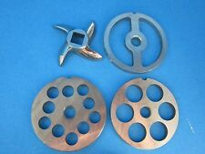 #8 (4) pc Meat Grinder LARGE HOLE SET plate knife blade Stainless Steel LEM etc