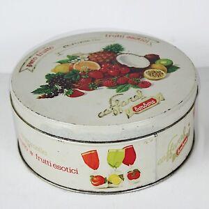 Scatola in latta vintage da collezione di caramelle rotonda vecchia CAFFAREL