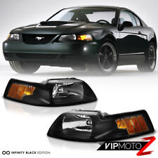 1999-2004 Ford Mustang [Factory Style] Black Amber Signal Headlights LEFT+RIGHT