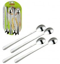 4 STAINLESS STEEL LONG REACH HANDLED ICE CREAM SUNDAE SUNDAY LATTE TEA SPOONS