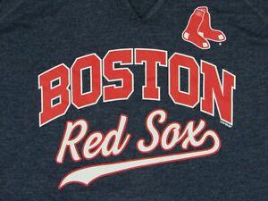 MLB Boston Red Sox Women's Split V-Neck Baseball T-Shirt Heather Blue Small