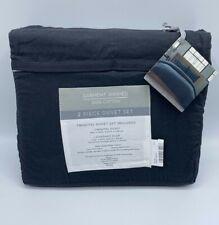 Twin TXL 2 Piece Duvet Set Garment Washed Black 100% Cotton Set New with Tag