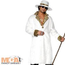 White Fur Pimp + Hat Mens 70s Adult Fancy Dress 1970s Costume Pimps Outfit New