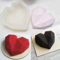Silicone Mold 3D Geometric Diamond Heart Chocolate Candy Cake DIY Baking Mould