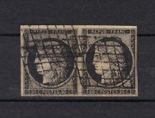 1849  N°3 c  PAIRE 20 ct GRIS-NOIR sans charniere,  ni clair
