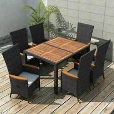 vidaXL 42691 7 Piece Outdoor Dining Set - Black