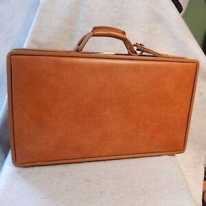 """Vintage HARTMANN Smooth Brown Luggage Suitcase 21""""x12""""x7"""" Belted Halston Hard"""
