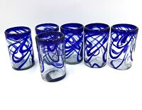 Mexican Hand Blown Art Highball Glass Glasses Blue Swirl Set of 6