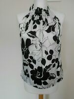 WALLIS Ladies Evening Blouse Top Size 10 Black White Silky Feel Cruise Party