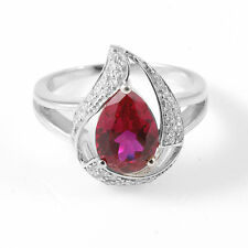 2.7ct Luxury Oval Luxury Ruby & Cubic Zirconia Pure Sterling Silver Ring Size 8