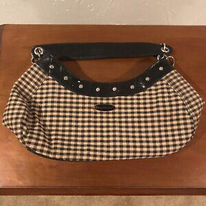 Longaberger Womens Small Tan Brown & Black Hobo Shoulder Bag Mini Carrying Purse