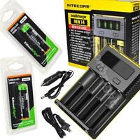 NITECORE New i4 charger w/ 2 X EdisonBright EBR34 3400mAh 18650 Li-ion batteries