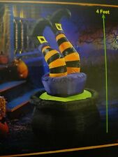 Halloween Airblown Inflatable Witch Legs in Cauldron Light Up Yard Decor NEW