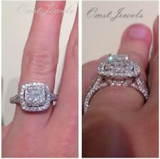2.0CT Princess Delicate Diamond Double Halo Engagement Ring 14K White Real Gold