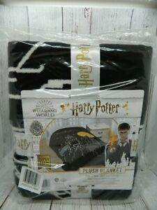 Harry Potter Hogwarts Soft Black Plush Blanket Wizarding World 60 x 90 NEW