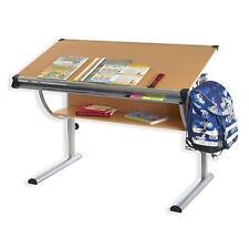 Bureau enfant écolier hauteur réglable table à dessin inclinable tablette hêtre