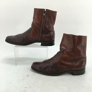 Florsheim Western Ankle Boots Mens 9.5 B Brown Leather Cowboy Side Zip Round Toe