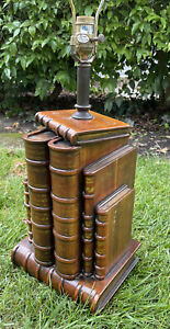 Theodore Alexander Stacked Books Faux Leather Table Lamp