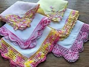 A+ Vintage Lot 6 Linen Hankies Fancy Handmade Pink Yellow Crochet Lace