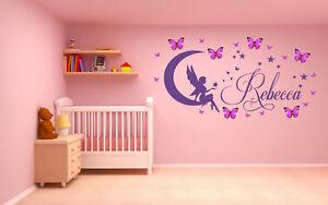 Personalised Name Fairy & 3D butterflies, Vinyl Wall Art Sticker, Mural, Decal