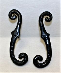 """Shutter Dogs (1 pair) Black Hold Back """"S"""" style Thick Steel Textured w/bolt"""