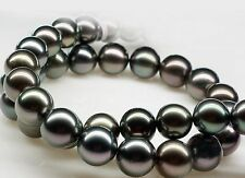 """Stunning 20""""10-11mm Tahitian genuine black round pearl necklace AAA 8898"""