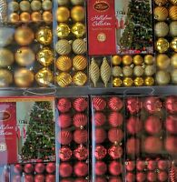 75 piece Christmas Baubles Set Gold or Red Geelong Tree Ornaments decorations