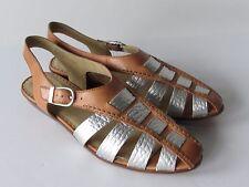 $89 Latigo Jeepers Women's Tan/Silver Leather Strappy Slingback Sandals size 6
