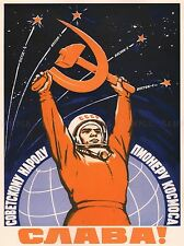 PROPAGANDA COSMONAUT GAGARIN USSR RED COMMUNISM LARGE POSTER ART PRINT BB2421A