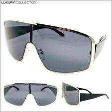 Classy Elegant Contemporary Modern Retro Shield SUN GLASSES Silver & Black Frame