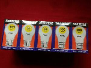 Unopened Pack of 10 Maxim Pearl Bayonet Cap 100w Light Bulbs