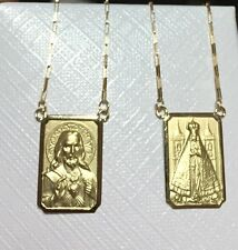 18k Gold Scapular Lady Aparecida with heart of Jesus Large Medal chain 1mm