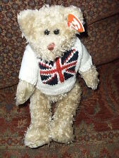 TY UNION JACK TEDDY BEAR UK SPECIAL 34CMS HAND MADE FULL SIZE BEANIE
