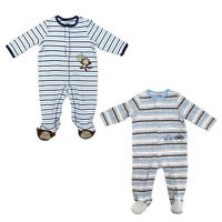 Little Me Footie Pajamas for Baby Boys - One-Piece Striped Footed Sleeper
