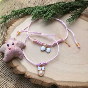 Mommy and Me bow tie Pearl Pink White handmade set bracelet
