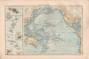"""1900 """"TIMES""""  LARGE ANTIQUE MAP - PACIFIC OCEAN, DEPTHS, CABLES INSETS OF ISLAND"""