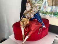 "Rare Vtg Beautiful Harlequin Pierrot Sitting Doll 8"" tall"