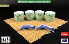 "NEW Japanese Style Handmade Porcelain Sake Cup Set 2.5"" - 4 cups/set (D71)"