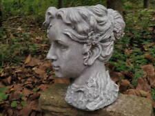 "10"" Classic Girl Woman Head Planter Garden Art Cement Concrete Antiqued Statue"