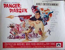 DANGER DIABOLIK half sheet movie poster 22x28 MARIO BAVA JOHN PHILIP LAW 1968