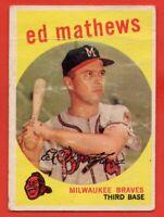 1959 Topps #450 Ed Mathews FILLER CREASE MARKED PAPER LOSS Milwaukee Braves HOF