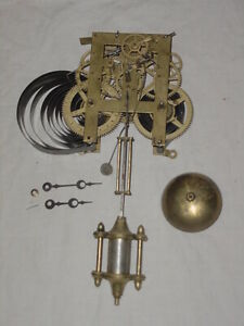 Antique Ansonia Shelf Mantle Wall Clock Movement / Pendulum, Hands, Chime, parts