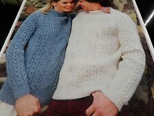 "Knitting Pattern Women Ladies Mens Aran Jumper Round Polo Neck  32-42"" Vintage"
