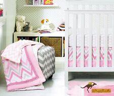 New Baby Girls 8 Pieces Line Pattern Theme Cotton Nursery Bedding Crib Cot Set