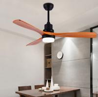"""52"""" Delta-Wing Bronze LED Chandelier Wood Ceiling Fan Light with Remote Control"""
