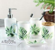 Nordic green leaves Bathroom Accessories Set Toothbrush Dish Soap Holder White
