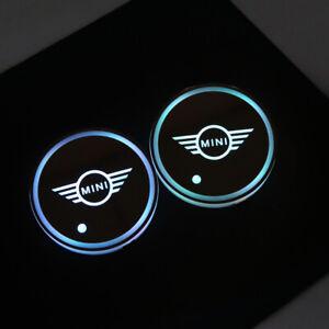 2pcs Mini Cooper Clubman Cup Pad Car Accessories LED Light Cover Interior Lights