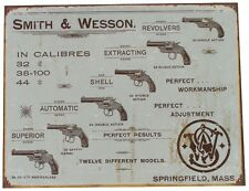 Vintage Replica Tin Metal Sign Smith & Wesson S&W 44 40 Pistol Revolver Gun 1466